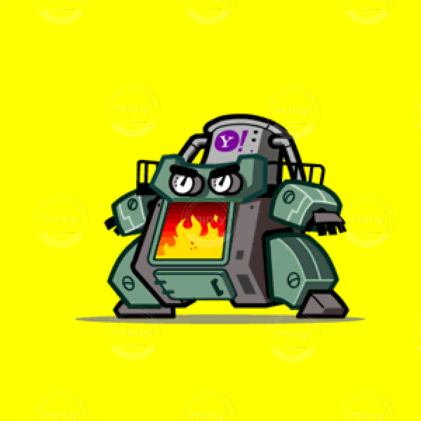 Yahoo Sumo Wrestler science fiction robot, animated GIF editorial spot illustration