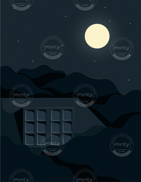 Woman switching on the moon from her bedroom window, on a summer starry night.