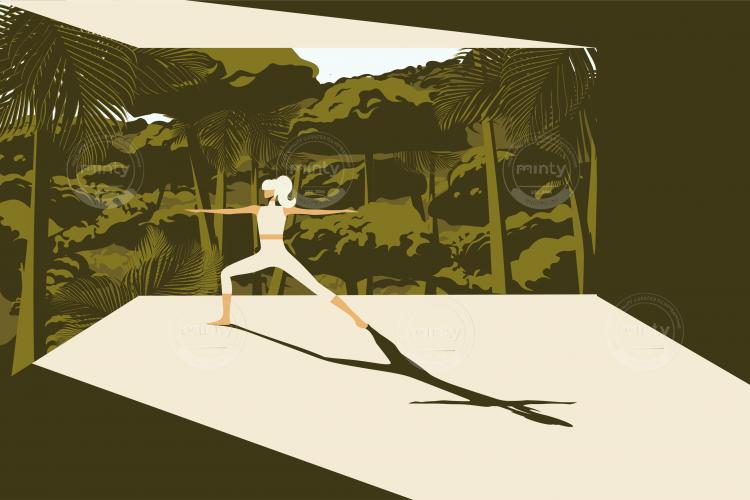 Woman practicing yoga, enjoying nature.