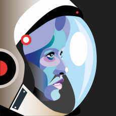 Astronaut woman wearing space helmet looking