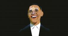 Barak Obama laughing